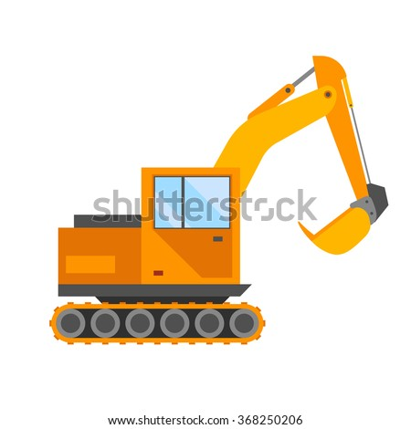 Building under construction excavator technics vector illustration. Building excavator truck vector. Under construction vector concept.Excavator vector machine isolated. Excavator vector icon isolated - stock vector