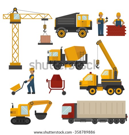 Building under construction, workers and construction technic vector illustration. Building mixer truck, crane vector. Under construction concept. Workers in helmet, construction machine isolated - stock vector