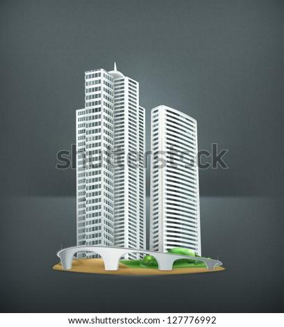 Building, vector - stock vector