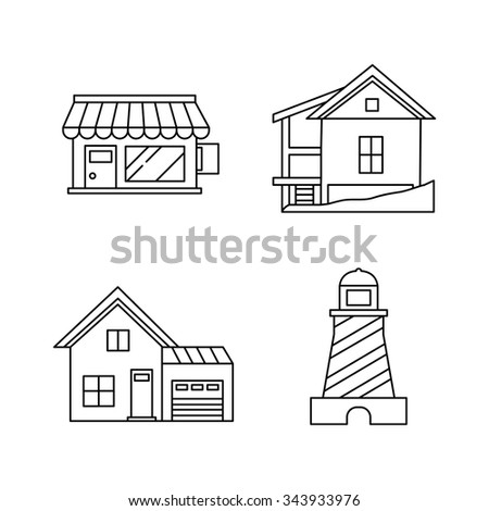 Building vector icons - stock vector