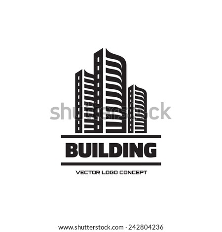 Building - vector logo concept illustration. Real estate logo. Cityscape graphic illustration. Vector logo template. Design element.  - stock vector