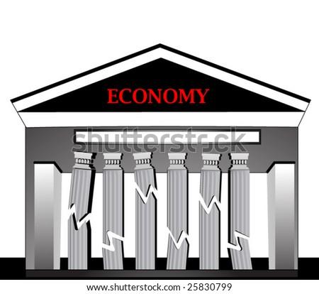 building with broken falling pillars - downward economy concept - stock vector