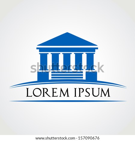 building with columns symbol vector illustration - stock vector