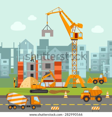 Building work process with houses and construction machines flat vector illustration - stock vector