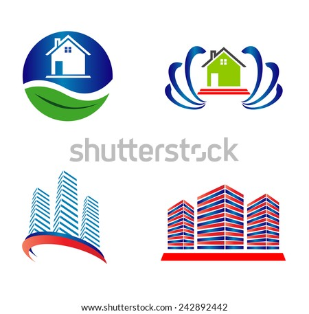 Buildings and house vector web icons set