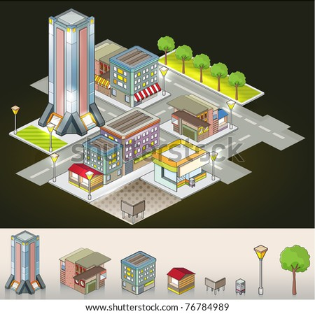 Buildings at night - isometric isolated objects - stock vector
