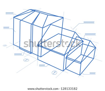 Buildings blueprint - Stylized illustration of modern building isolated on white background - stock vector