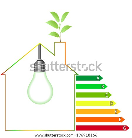 Buildings Energy Performance Scale. Energy efficiency - stock vector