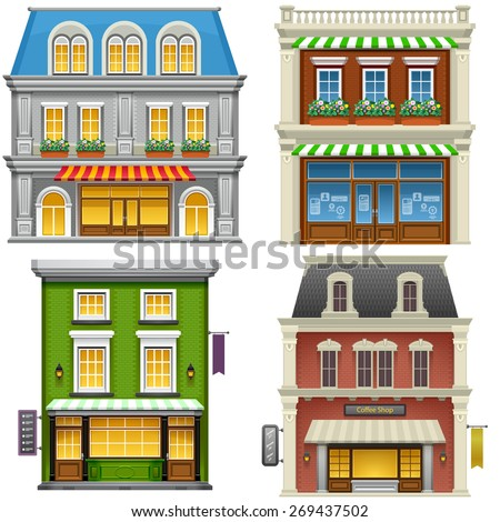 Buildings. High detailed illustration of buildings on white background. Vector eps 10. - stock vector
