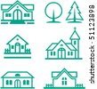 Buildings, houses, Christian church and trees illustration â?? Real estate and architecture - stock photo