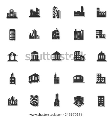 Buildings icon set 1 - stock vector