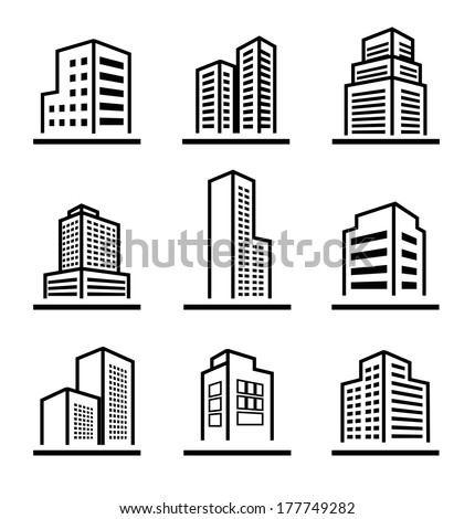 Buildings icons - stock vector