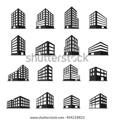 Buildings icons set. vector illustration - stock vector