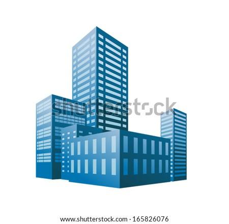 Buildings in perspective - stock vector