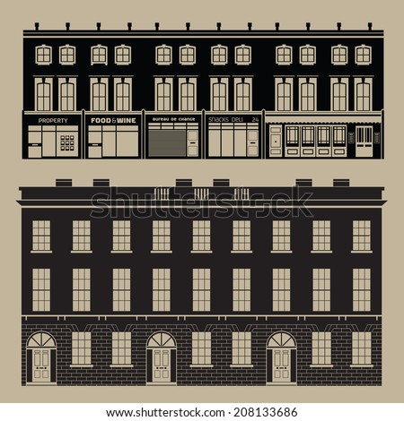 Buildings set with english terrace houses - monochrome - stock vector