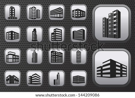 Buildings vector web icons set on metal button - stock vector