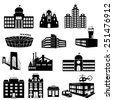 Buildings vector web icons set. Various types of construction - vector illustration - stock vector
