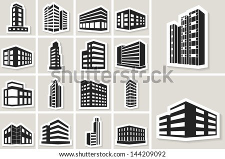 Buildings vector web sticker icons set - stock vector