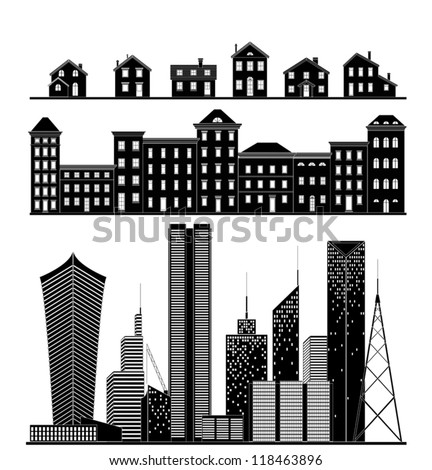 Buildings - village, suburbs, city - stock vector