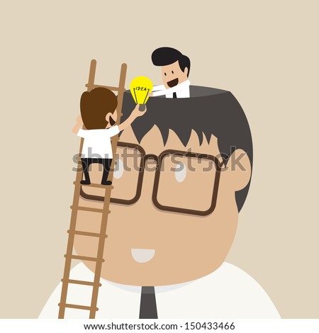 Buinessman on ladder to share idea with another - stock vector