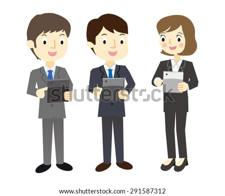 Buisinessman that are using the tablet terminal - stock vector