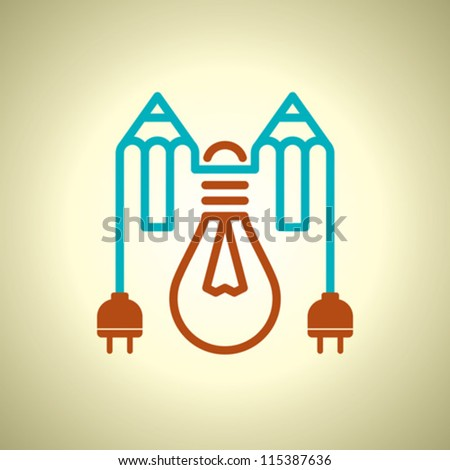 bulb and pencil on grunge background - stock vector