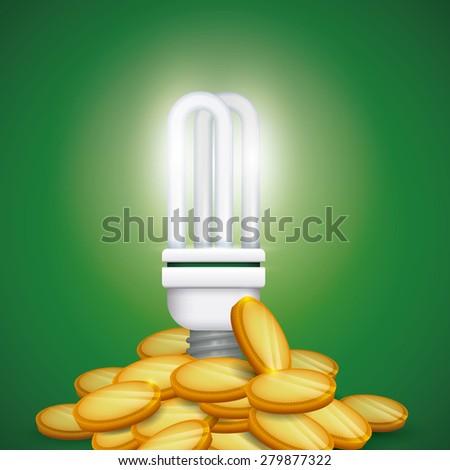 Bulb design over green background, vector illustration. - stock vector