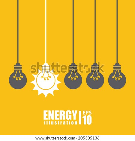 bulb design over yellow  background vector illustration - stock vector