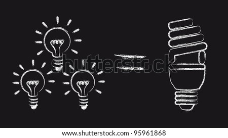 bulb electric over black background, saving energy. vector - stock vector