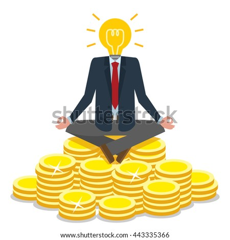 Bulb head businessman sitting on gold coins. Idea lightbulb instead of head. Meditating on golden coins. Concept of creative person, earning money, success. - stock vector