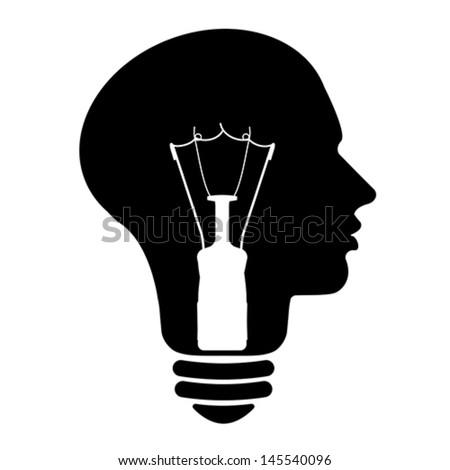 Bulb human head symbol, vector  - stock vector