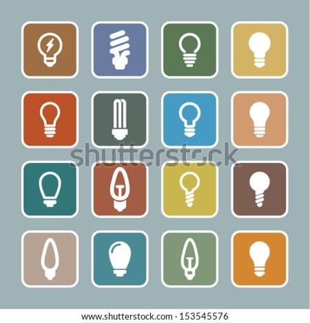 Bulb icon set - stock vector