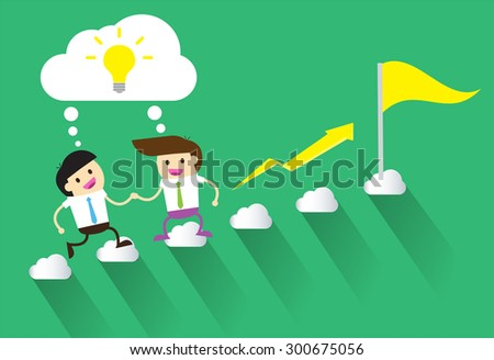 Bulb Idea Businessman climbing ladder to Success. Vector illustration. Businessman climbing to goal. Motivation concept to be successful. winner. finish. win. flat design. arrow. money graph - stock vector