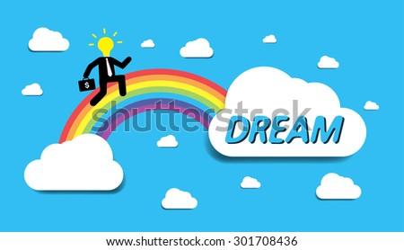 Bulb Idea Businessman climbing ladder to Success. Vector illustration. Businessman climbing to goal.Motivation concept to be successful.winner.finish.win. flat design. text box. bubble. rainbow stairs - stock vector
