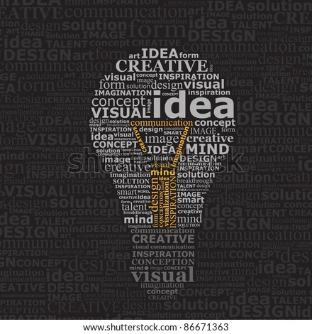Bulb idea made by typography on black textured background - stock vector