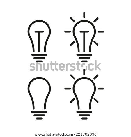 bulb lamp line icons - stock vector