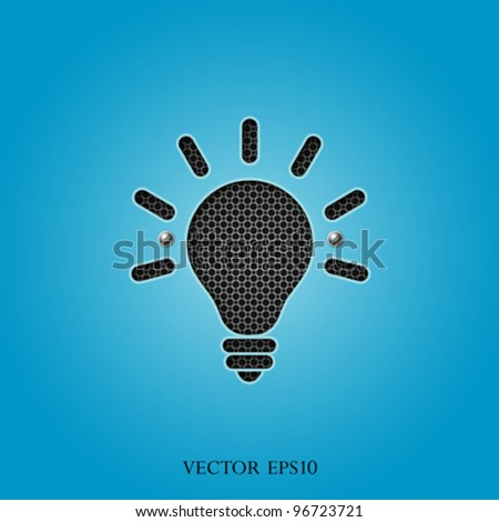 bulb light blue stencil on stainless steel grille on black background, vector illustration - stock vector