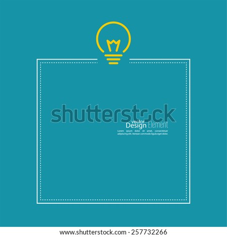 Bulb light idea. flat design. concept  of ideas inspiration innovation, invention, effective thinking. Frame with place for text - stock vector