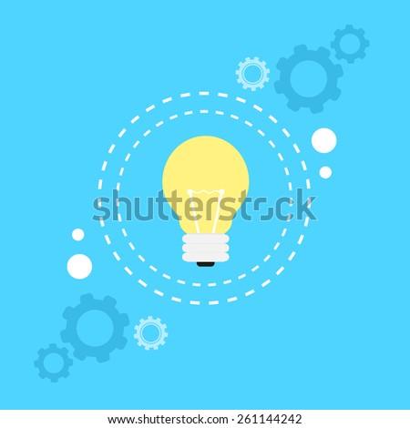 bulb light lamp idea concept flat icon vector illustration - stock vector