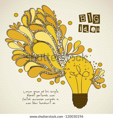 bulb representing an idea, with colorful drops, vector illustration - stock vector