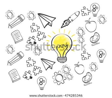 bulb rocket apple puzzle gear big and great idea creativity icon set. Sketch and draw design. Vector illustration