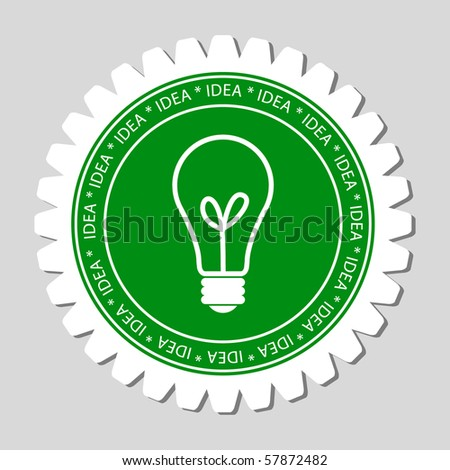Bulb Sign Label - stock vector