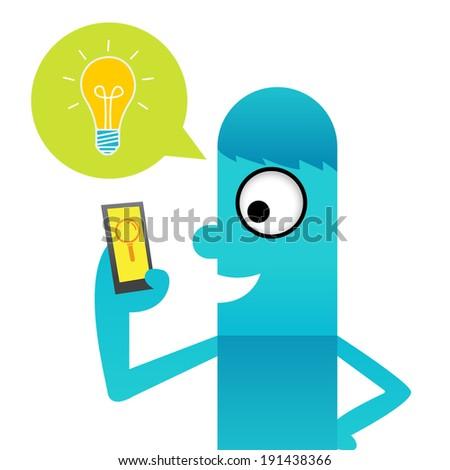 Bulb with idea application - stock vector