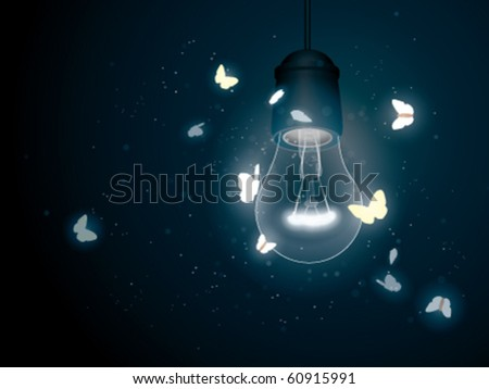 Bulb with moth - stock vector