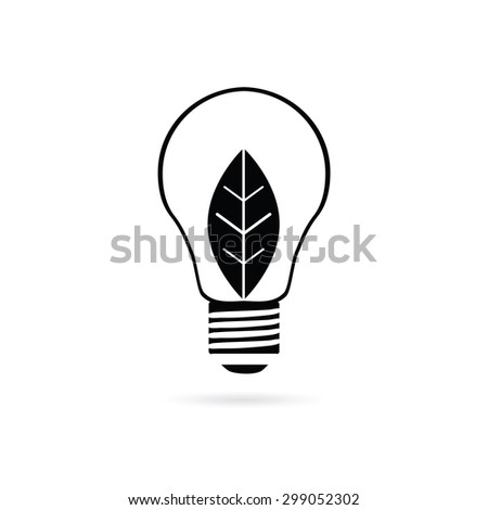 bulb with plant black art vector - stock vector