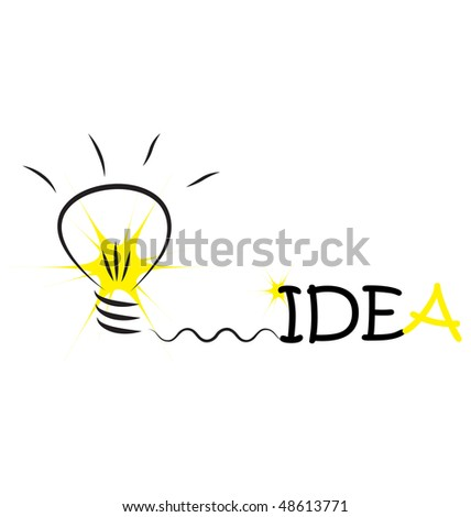 bulb with word idea and flash - stock vector