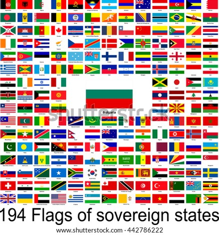Bulgaria, collection of vector images of flags of the world