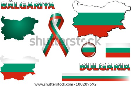 Bulgaria Icons. Set of vector graphic images and symbols representing Bulgaria. The text says 'Bulgaria' in Bulgarian. - stock vector