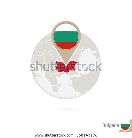 Bulgaria map and flag in circle. Map of Bulgaria, Bulgaria flag pin. Map of Bulgaria in the style of the globe. Vector Illustration. - stock vector