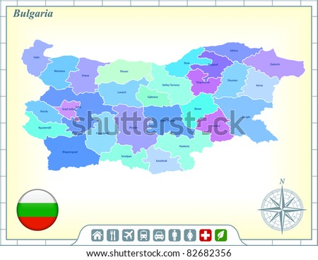Bulgaria Map with Flag Buttons and Assistance & Activates Icons Original Illustration
